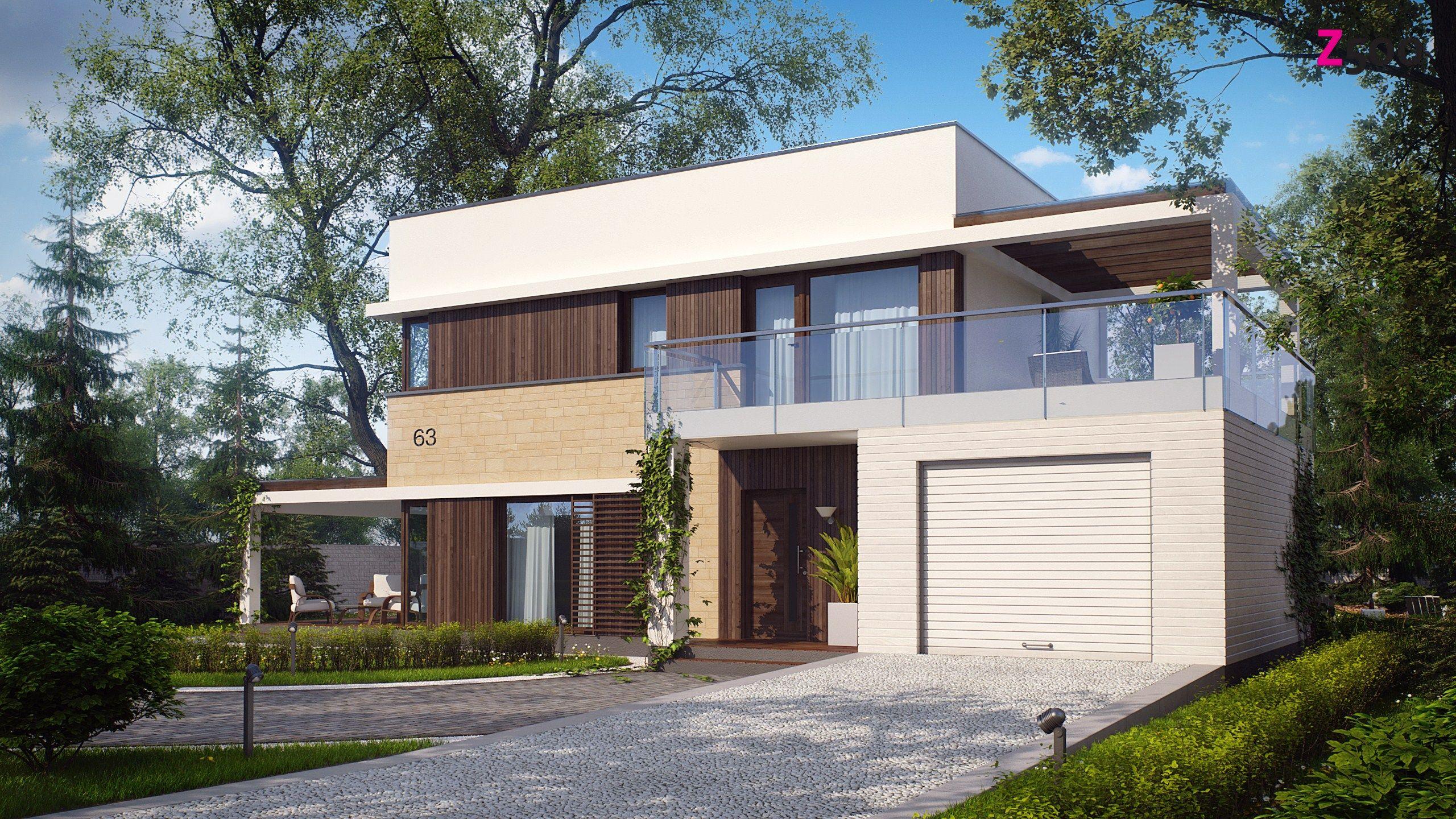 дом с плоской крышей, фото