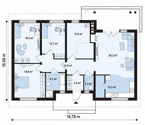 проекты одноэтажных домов со стоимостью строительства